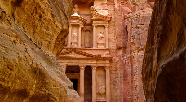 The ruins of the ancient Nabatean city of Petra, in Jordan